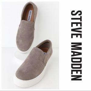 Gills Grey Suede Leather Flatform Slip-on Sneakers
